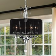 Gatsby Collection 4 Light Chrome Finish and Clear Crystal Chandelier with Black String Drum Shade