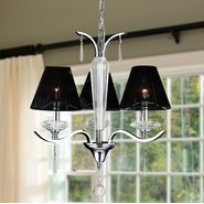 W83133C20 Gatsby 3 Light Arm Chrome Finish and Clear Crystal Chandelier with Black String Shade