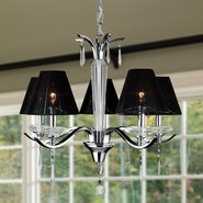 W83133C25 Gatsby 5 Light Arm Chrome Finish and Clear Crystal Chandelier with Black String Shade