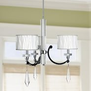 W83134C25 Cutlass 3 Light Arm Chrome Finish and Clear Crystal Chandelier with White Fabric Shade