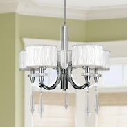 W83134C26 Cutlass 5 Light Arm Chrome Finish and Clear Crystal Chandelier with White Fabric Shade