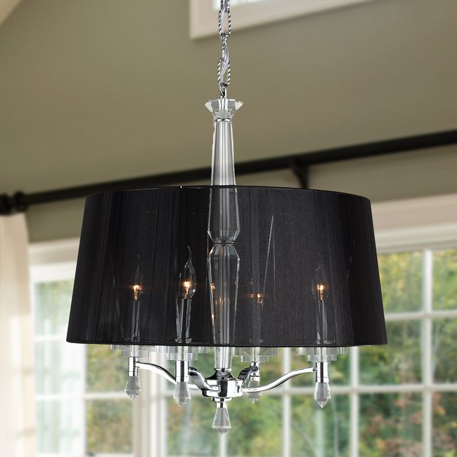 W83135C18 Gatsby 4 Light Chrome Finish and Clear Crystal Chandelier with Black String Shade