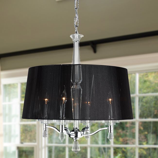 W83135C25 Gatsby 4 light Chrome Finish with Clear Crystal Chandelier