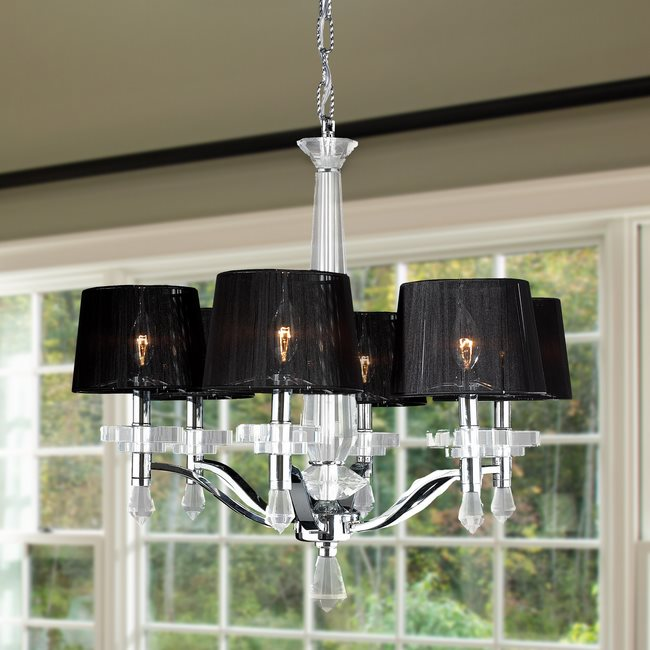 W83135C26 Gatsby 6 light Chrome Finish with Clear Crystal Chandelier