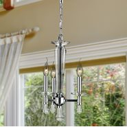W83136C12 Gatsby 3 Light Chrome Finish and Clear Crystal Candle Mini Chandelier