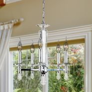 W83136C16 Gatsby 5 Light Chrome Finish and Clear Crystal Candle Mini Chandelier
