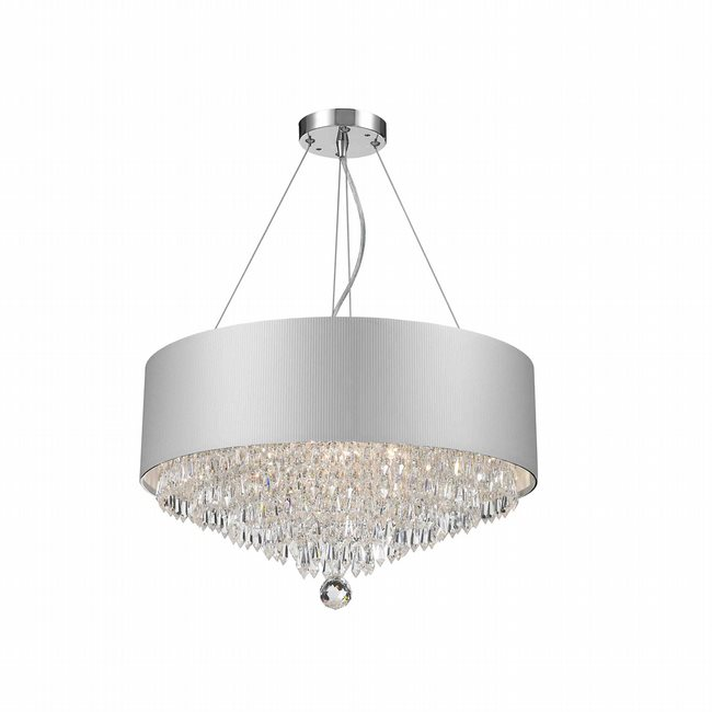 W83137C20-SV Gatsby Chandelier, D20 H12 8 Light, Chrome Finish, Clear Crystal, White Acrylic Shade