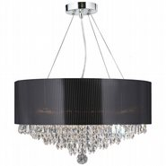 Gatsby 8 Light Chrome Finish and Clear Crystal Chandelier with Black Acrylic Drum Shade
