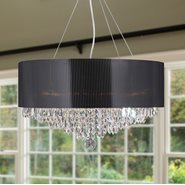 W83137C20 Gatsby 8 Light Chrome Finish and Clear Crystal Chandelier with Black Acrylic Drum Shade