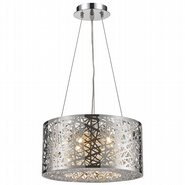 Aramis Collection 6 LED Light Chrome Finish and Clear Crystal Round Chandelier