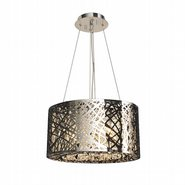 Aramis Collection 9 LED Light Chrome Finish and Clear Crystal Round Chandelier