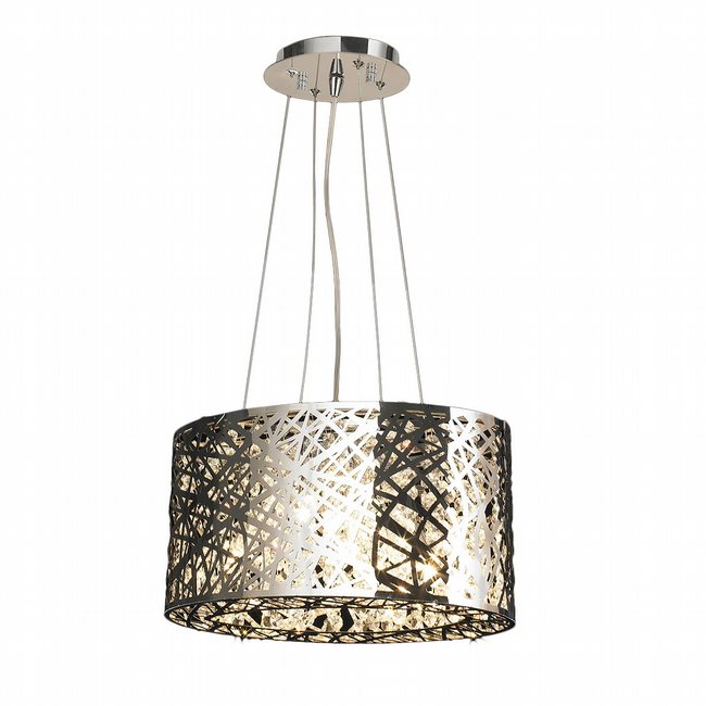 W83144C16 Aramis 5 LED Light Chrome Finish and Clear Crystal Oval Chandelier
