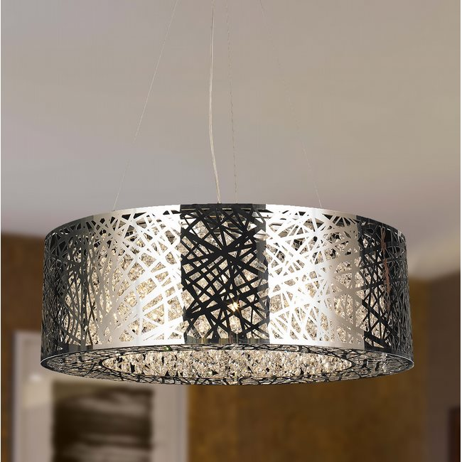 W83144C24 Aramis 10 LED light Chrome Finish and Clear Crystal Oval Chandelier