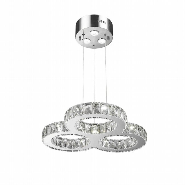 W83149KC22 Galaxy LED Chandelier, D22 H2 13 Light, Chrome Finish, Clear Crystal
