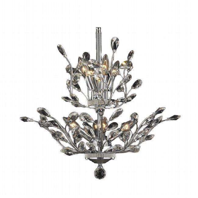 W83152C21 Aspen 8 Light Chrome Finish Crystal Tree Two Tier Chandelier