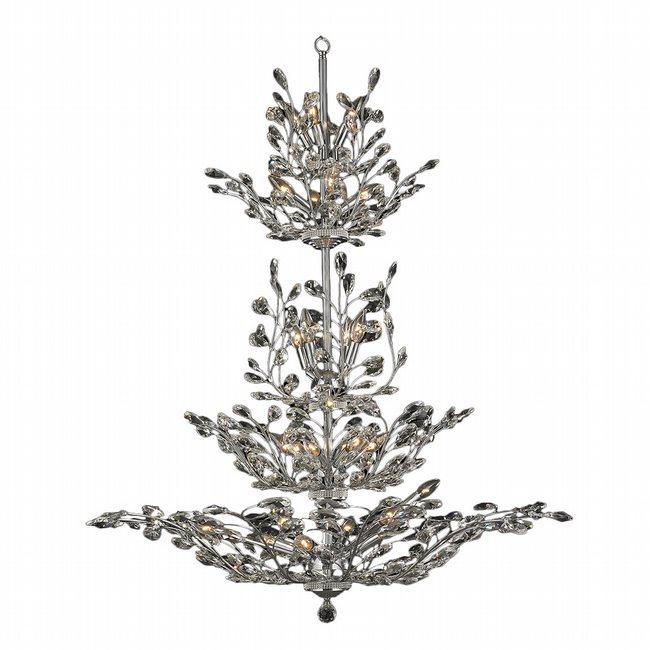 W83152C42 Aspen 26 light Chrome Finish Crystal Tree Four Tier Chandelier