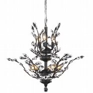 W83152F21 Aspen 8-Light Chrome Finish and Crystal Floral Chandelier 21 in. D x 22 in. H Two 2 Tier Medium