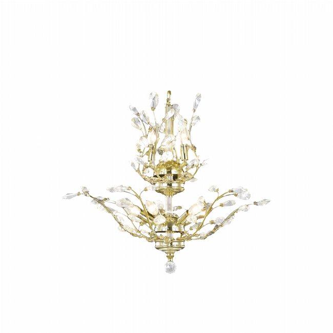 W83152G21 Aspen 8 Light Gold Finish Crystal Tree Two Tier Chandelier