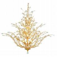 Aspen 18 Light Gold Finish Crystal Tree Three Tier Chandelier
