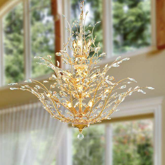 W83152G41 Aspen 18 Light Gold Finish Crystal Tree Three Tier Chandelier
