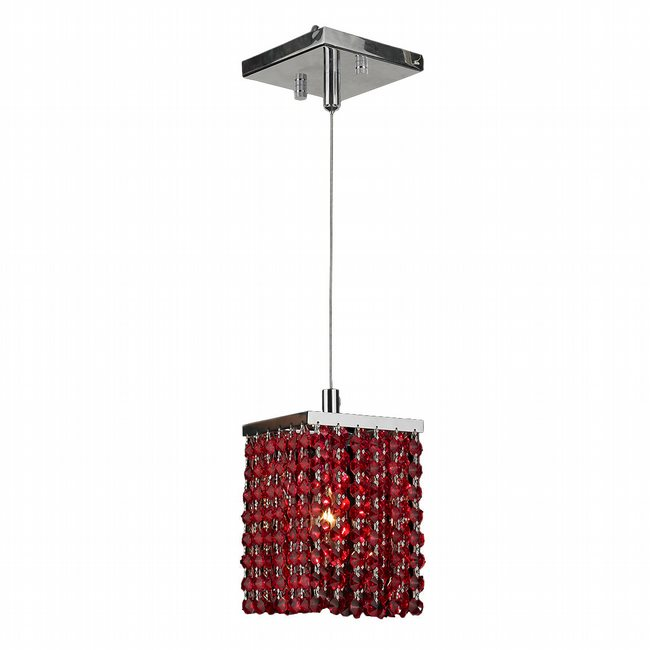 W83154C5-RD Prism 1 light Chrome Finish and Red Crystal Mini Pendant