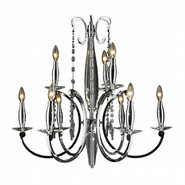 W83155C29 Innsbruck 9 light Chrome Finish and Clear Crystal Chandelier Two 2 Tier