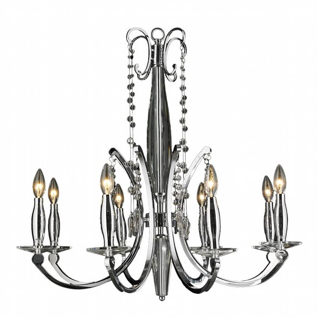 W83155C30 Innsbruck 8 light Chrome Finish and Clear Crystal Chandelier