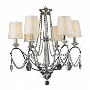 W83156C26 Innsbruck 6 light Chrome Finish Crystal Chandelier with Silk Ivory Shade