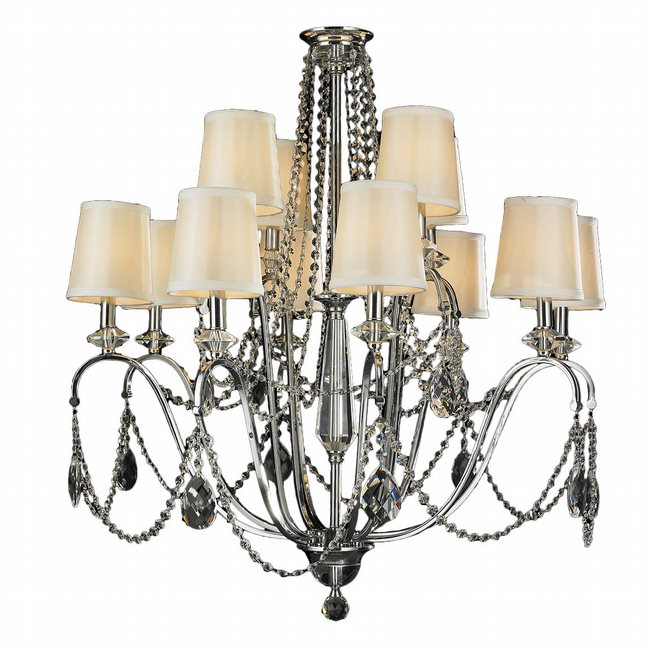 W83156C35 Innsbruck 12 Light Chrome Finish Crystal Chandelier with Silk Ivory Shade Two 2 Tier