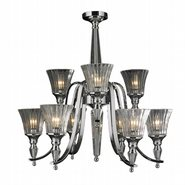 W83159C29 Innsbruck 9 light Chrome Finish and Clear Crystal Chandelier