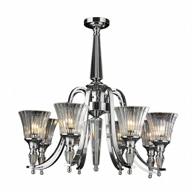 W83159C30 Innsbruck 8 Light Chrome Finish and Clear Crystal Chandelier