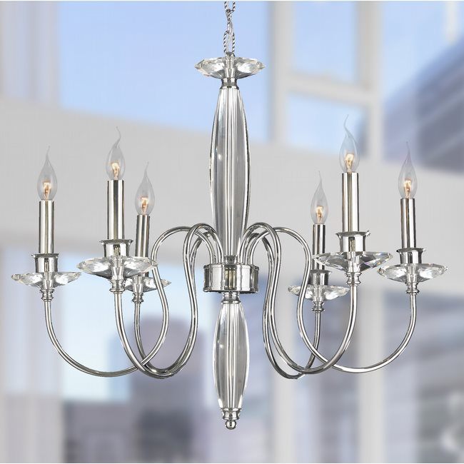 W83161C25 Innsbruck 6 lights Chrome Finish with Clear Crystal Candelabra Chandelier