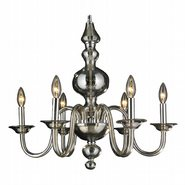W83170C24-GT Murano Venetian Style 6 light Blown Glass in Golden Teak Finish