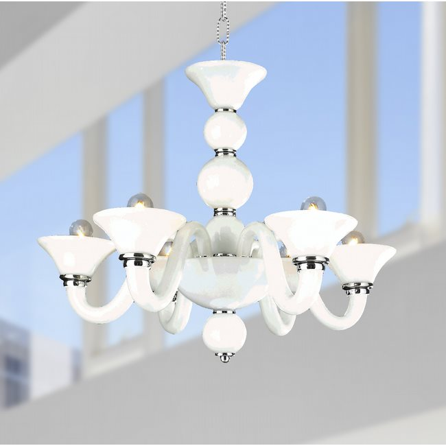 W83171C23-WH Murano Venetian Style 6 Light Blown Glass in White Finish Chandelier