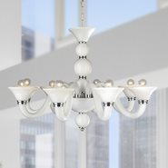 W83171C28-WH Murano Venetian Style 8 Light Blown Glass in White Finish Chandelier