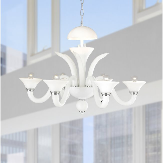 W83172C28-WH Murano Venetian Style 6 Light Blown Glass in White Finish Chandelier