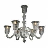 W83173C31-CL Murano Venetian Style 6 light Blown Glass in Clear Finish Chandelier