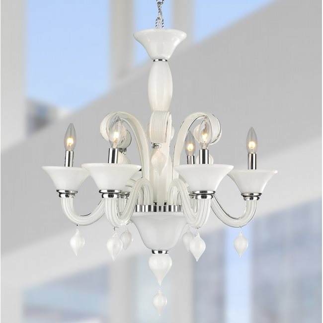 W83174C23-WH Murano Venetian Style 6 Light Blown Glass in White Finish Chandelier