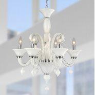 Murano Venetian Style 6 Light Blown Glass in White Finish Chandelier