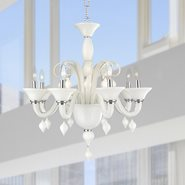 W83174C27-WH Murano Venetian Style 8 Light Blown Glass in White Finish Chandelier
