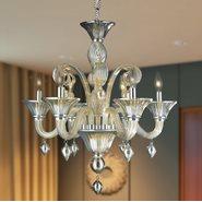Murano Venetian Style 6 light Blown Glass in Golden Teak Finish Chandelier