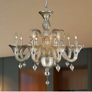 W83175C27-AM Murano Venetian Style 8 Light Blown Glass in Amber Finish Chandelier