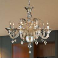 Murano Venetian Style 8 Light Blown Glass in Amber Finish Chandelier