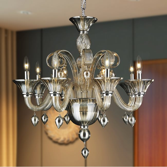 W83175C27-GT Murano Venetian Style 8 lights Blown Glass in Golden Teak Finish Chandelier