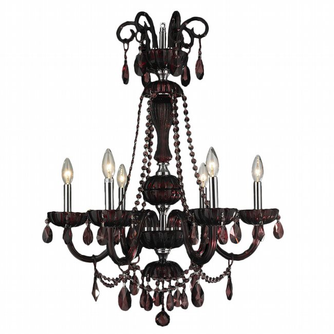 W83177C25-CY Carnivale 6 lights Chrome Finish and Cranberry Crystal Chandelier