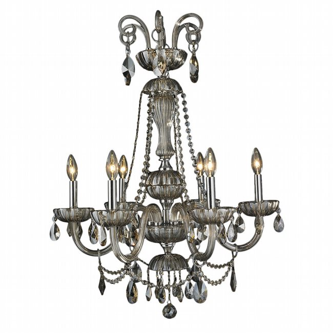 W83177C25-GT Carnivale 6 Light Chrome Finish and Golden Teak Crystal Chandelier