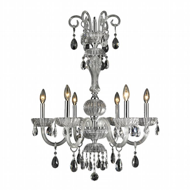 W83178C25-CL Carnivale 6 Light Chrome Finish and Clear Crystal Chandelier
