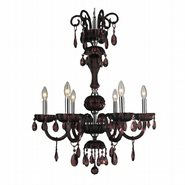 W83178C25-CY Carnivale 6 Light Chrome Finish and Cranberry Red Crystal Chandelier