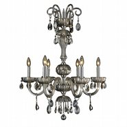 W83178C25-GT Carnivale 6 Light Chrome Finish and Golden Teak Crystal Chandelier