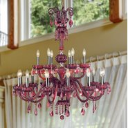 W83178C36-CY Carnivale 18 light Chrome Finish and Cranberry Red Crystal Chandelier Two 2 Tier